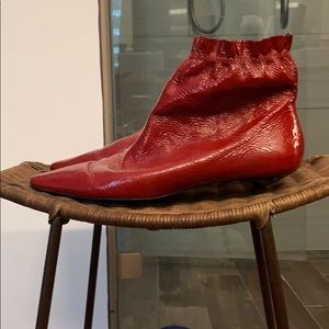 Red patent leather pull on ankle booties